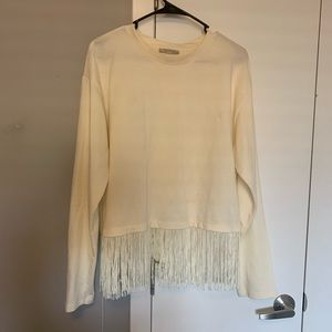 Long sleeve fringe top, Zara - Size S.